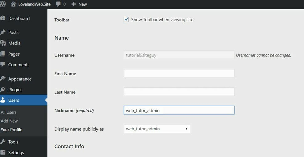 Web design with WordPress- setting user name